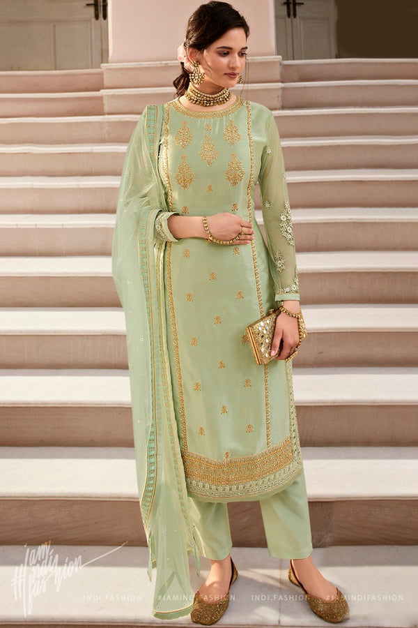 Light Sage Green Georgette and Net Straight Suit with Skirt and Pants