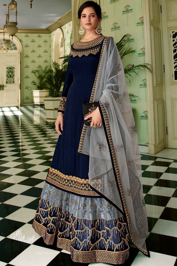 Navy Blue and Gray Georgette and Net Straight Suit with Skirt and Pants