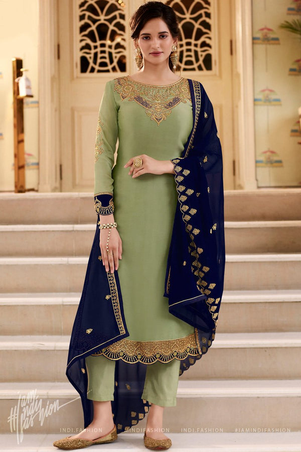 Green and Navy Blue Georgette Straight Suit with Skirt and Pants