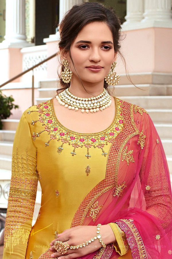 Mustard and Pink Georgette and Net Straight Suit with Skirt and Pants