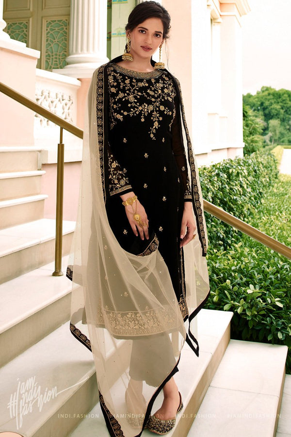 Black and Beige Georgette and Net Straight Suit with Skirt and Pants
