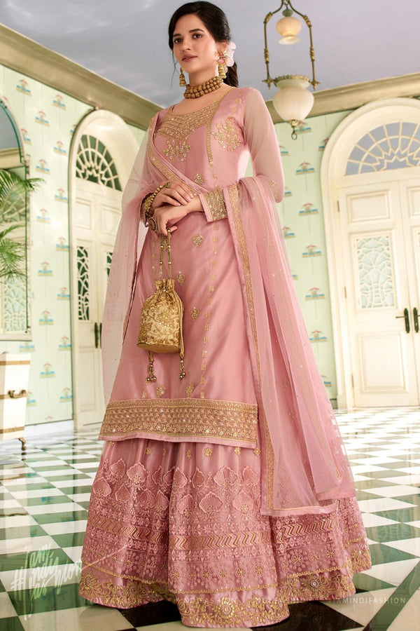 Onion Pink Net Straight Suit with Skirt and Pants