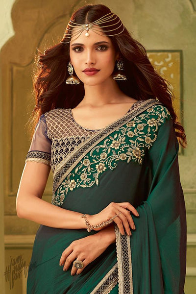 Bottle Green and Blue Silk Party Wear Saree