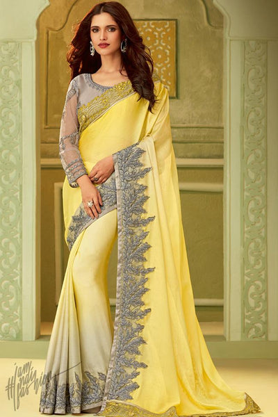 Yellow and Gray Silk Party Wear Saree