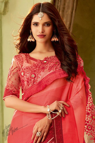 Red and Magenta Shaded Silk Party Wear Saree