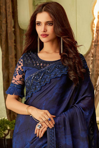 Navy Blue Silk Party Wear Saree