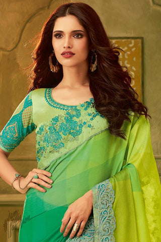 Green Ombre Silk Party Wear Saree