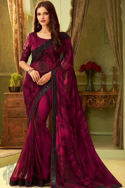 Wine Georgette Party Wear Saree