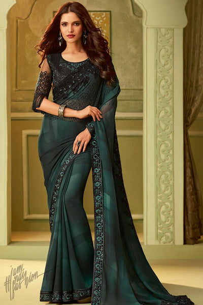 Dark Green Georgette Party Wear Saree