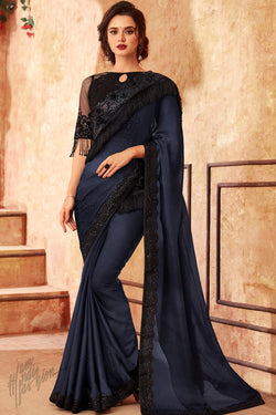 Midnight Blue and Black Silk Party Wear Saree