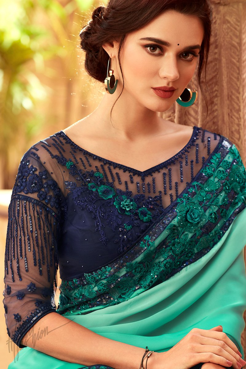 Sky and Navy Blue Shaded Silk Party Wear Saree
