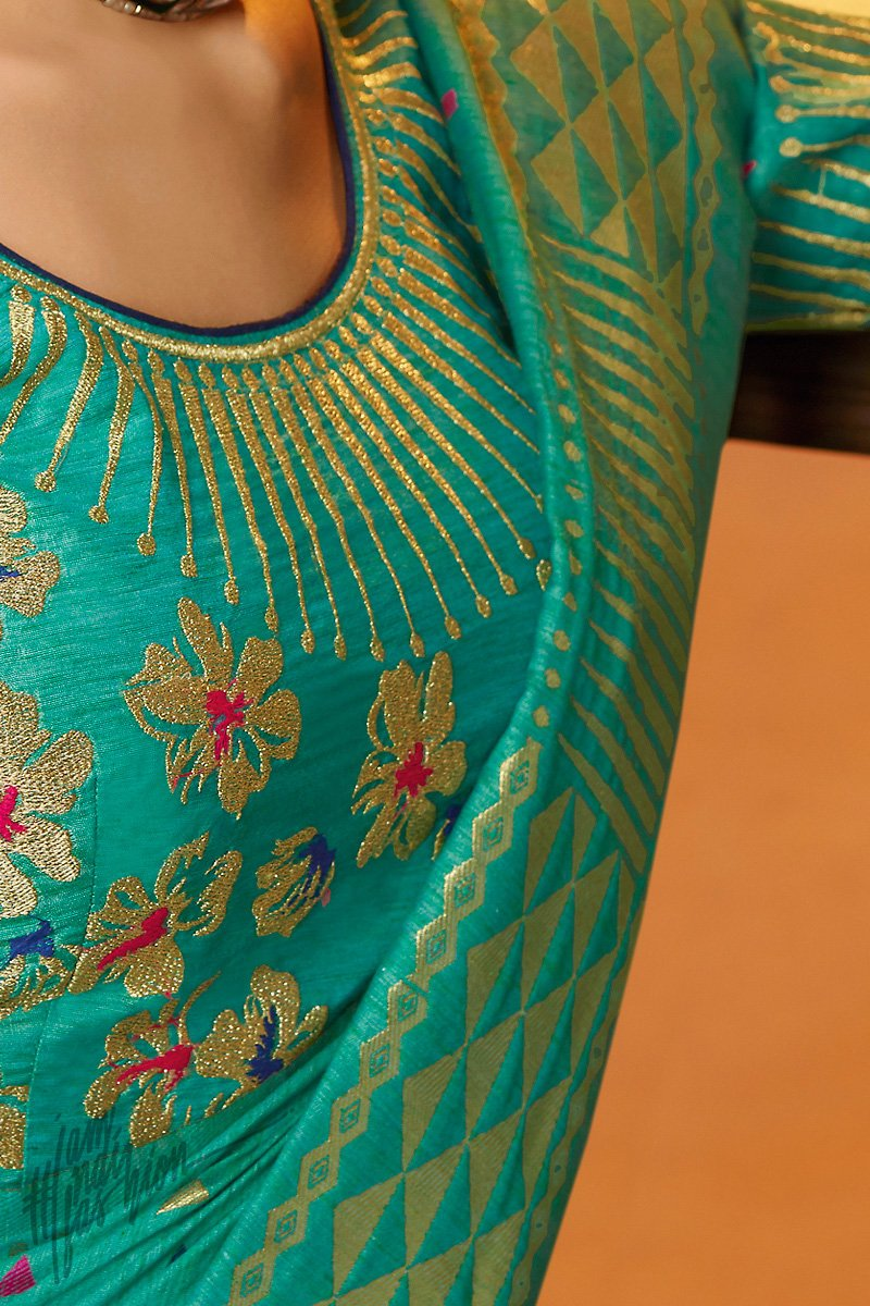 Teal Blue Blended Banarasi Silk Saree