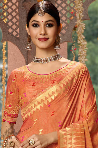Sandstone Orange Blended Banarasi Silk Saree
