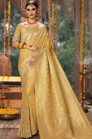 Butterscotch Yellow Blended Banarasi Silk Saree