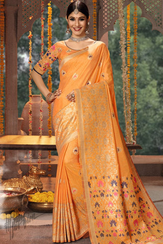 Honey Orange Blended Banarasi Silk Saree