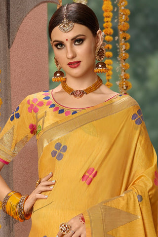 Turmeric Yellow Blended Banarasi Silk Saree