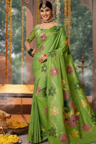Paan Green Blended Banarasi Silk Saree