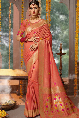 Blush Red Blended Banarasi Silk Saree