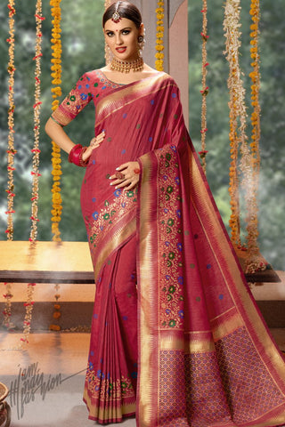 Garnet Red Blended Banarasi Silk Saree