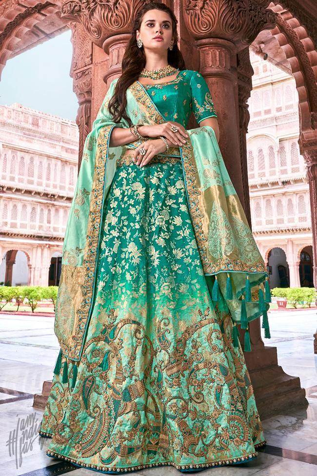 Green Ombre Banarasi Silk Wedding Lehenga Set