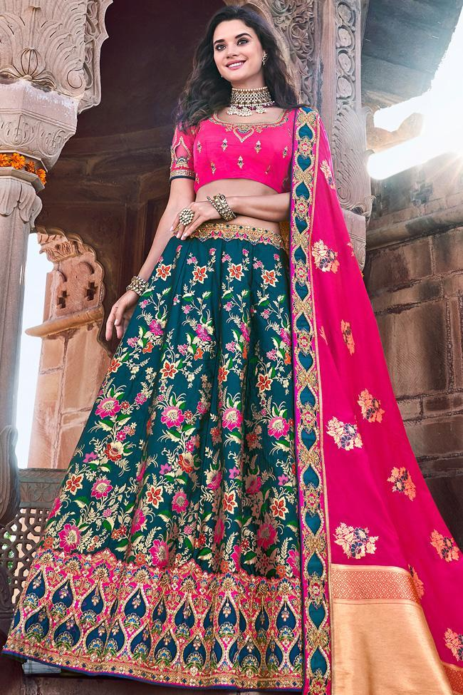 Peacock Blue and Rani Banarasi Silk Wedding Lehenga Set