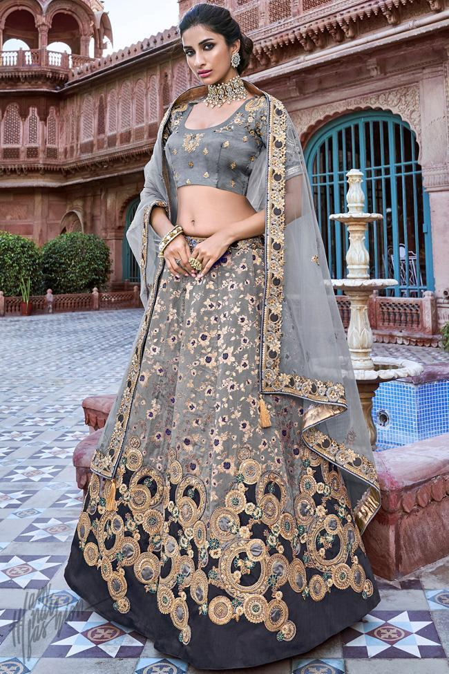 Gray Banarasi Silk Wedding Lehenga Set
