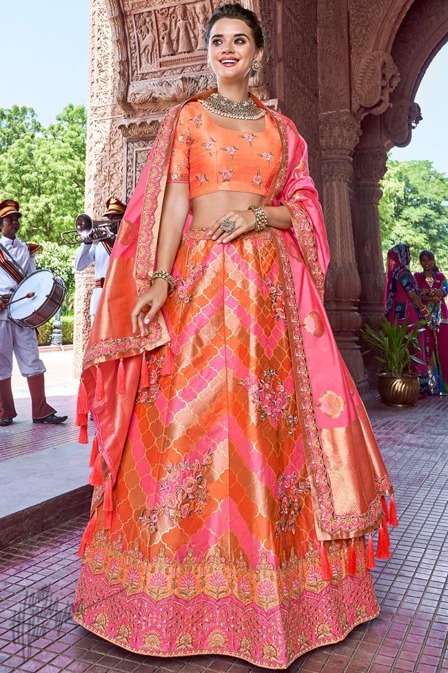 Pink and Peach Banarasi Silk Wedding Lehenga Set