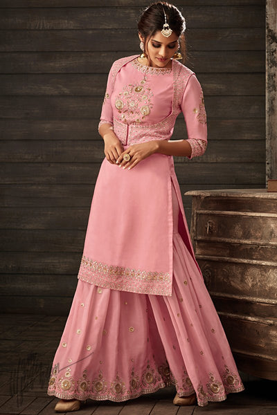 Punch Pink Georgette Party Wear Koti Palazzo Suit