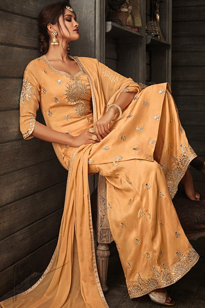 Mango Punch Georgette Party Wear Palazzo Suit