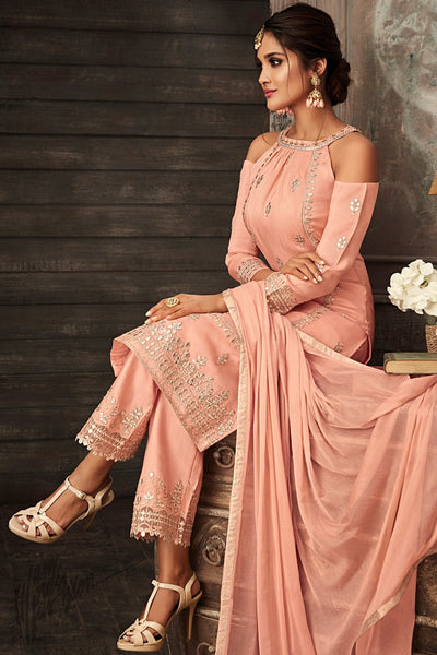 Salmon Pink Georgette Party Wear Straight Suit