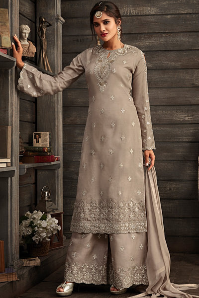 Gray Georgette Party Wear Palazzo Suit