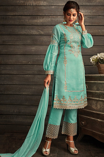 Teal Blue Georgette Party Wear Straight Suit