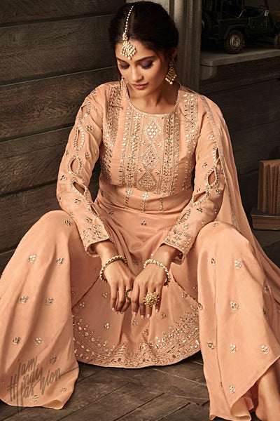 Peach Georgette Party Wear Palazzo Suit