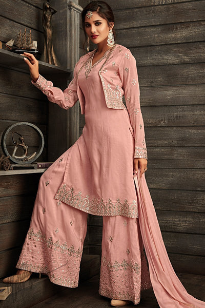 Pink Georgette Party Wear Koti Palazzo Suit