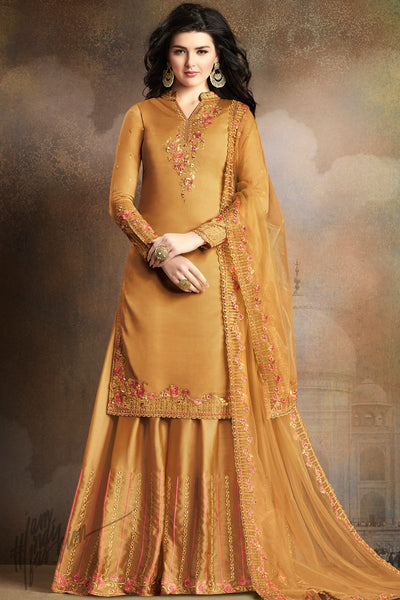 Honey Orange Soft Silk Palazzo Suit