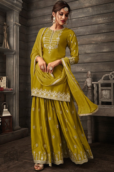 Mehandi Green Georgette Party Wear Koti Palazzo Suit