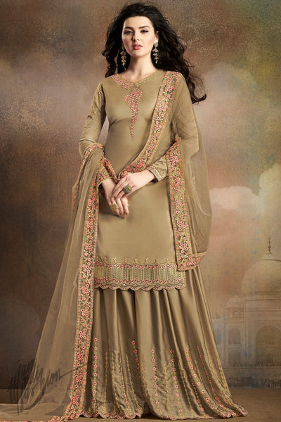 Light Olive Soft Silk Palazzo Suit