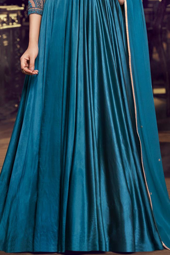 Blue Modal Satin Silk Gown