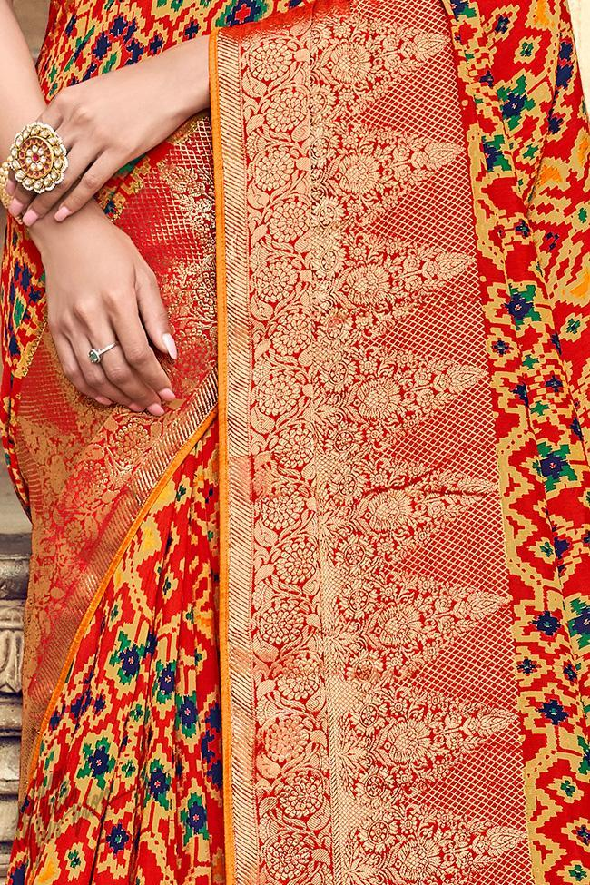 Red and Orange Silk Saree