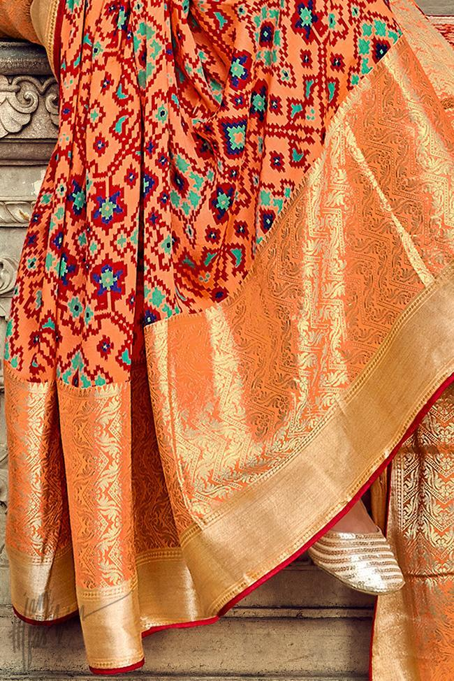 Peach and Red Silk Saree
