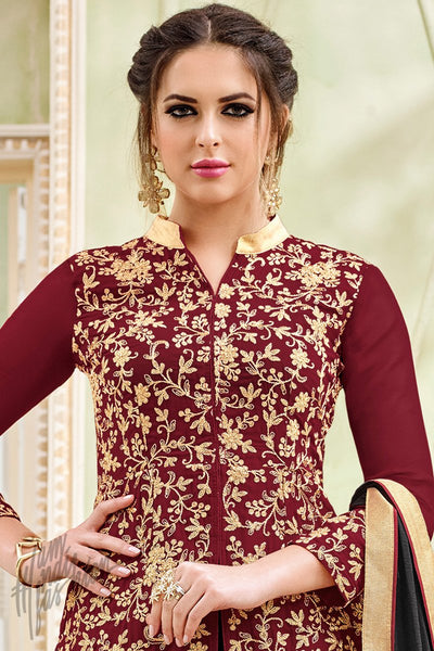 Indi Fashion Maroon and Black Georgette Lehenga Style Suit
