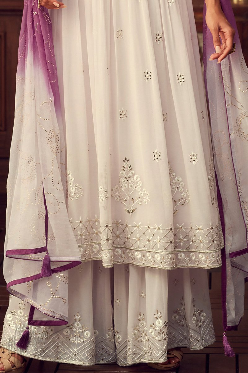 Ivory Georgette Sharara Suit