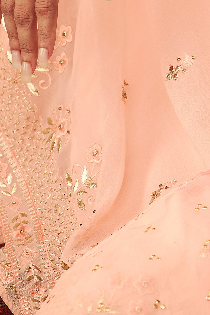 Baby Pink Georgette Sharara Suit