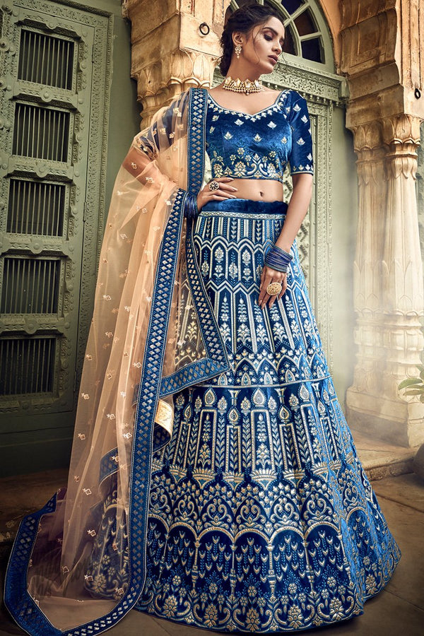 Ink Blue and Peach Velvet Pure Gotta Wedding Lehenga Set
