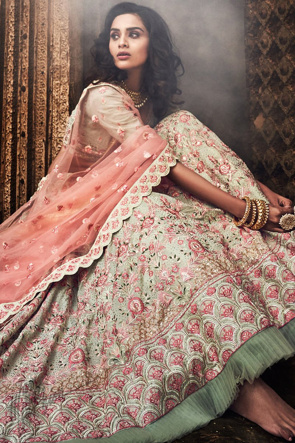 Pista Green and Baby Pink Georgette Wedding Lehenga Set