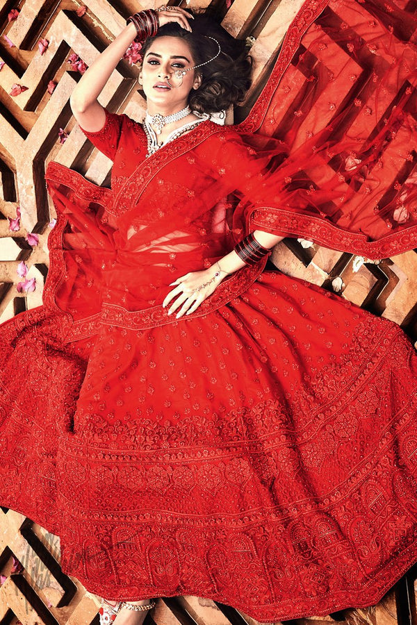 Red Soft Net Wedding Lehenga Set