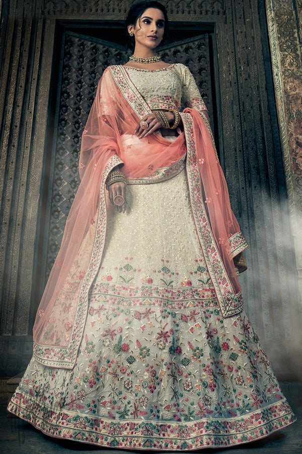 Ivory and Peach Georgette Wedding Lehenga Set
