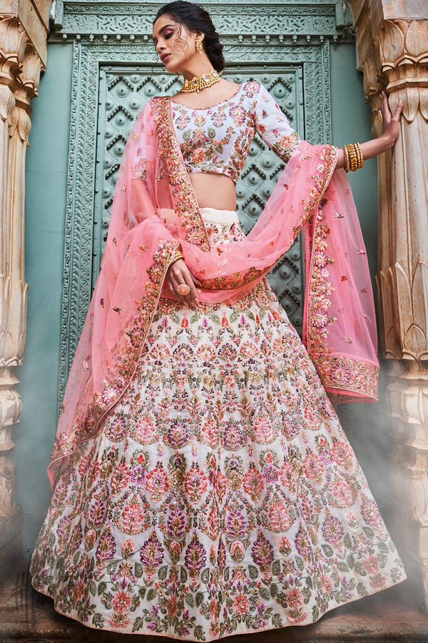 Off White and Pink Georgette Wedding Lehenga Set