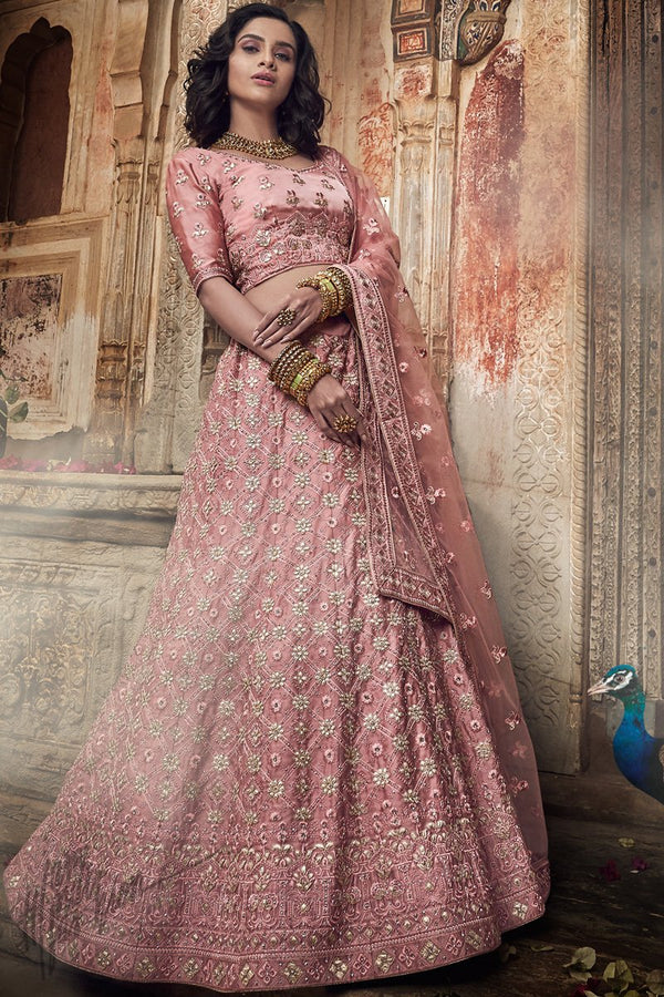 Onion Pink Satin Silk Pure Gotta Wedding Lehenga Set