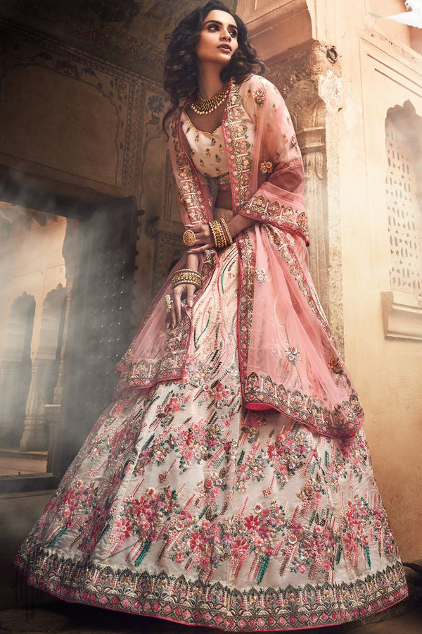 Off White and Baby Pink Organza Silk Wedding Lehenga Set